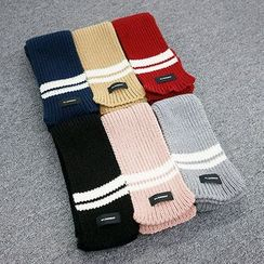 Seoul Homme - Contrast-Trim Knit Scarf