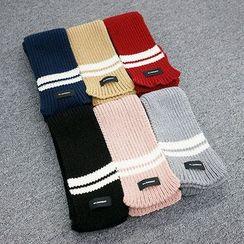 Seoul Homme - Contrast-Trim Knit Scarf