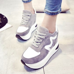 Tina Nini - Metallic Panel Platform Hidden Wedge Lace Up Sneakers