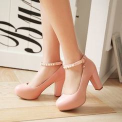 JY Shoes - Chunky Heel Platform Pumps with Beaded Ankle Strap