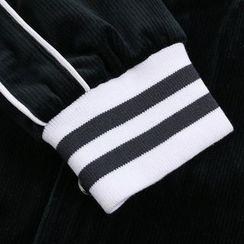 AMPO - Contrast Trim Baseball Jacket