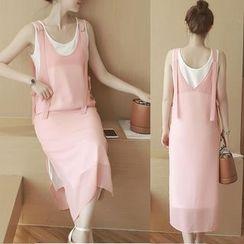 Munai - Set: Chiffon Tank Dress + Sleeveless Dress