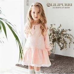LILIPURRI - Girls Keyhole Lace-Trim Dress