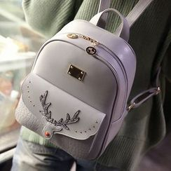 Little Days - Set: Deer Faux Leather Backpack + Shoulder Bag