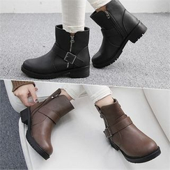 Reneve - Round-Toe Belted Short Boots
