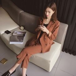 Cocofield - Set: Double-Breasted Blazer + Cropped Straight Leg Pants