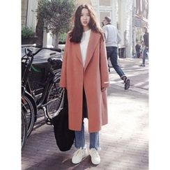 maybe-baby - Hidden-Button Wool Blend Coat