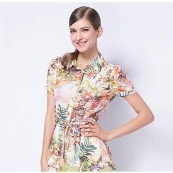O.SA - Short-Sleeve Drawstring Printed Blouse