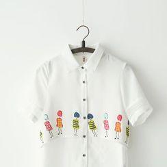 布丁坊 - 短袖印花衬衫