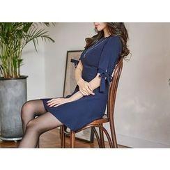 UUZONE - Ribbon-Detail Knit Dress
