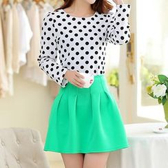 Swish - Set: Polka Dot Long-Sleeve Top + Pleated Skirt