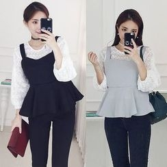 Seoul Fashion - Set: Long-Sleeve Lace Top + Peplum Camisole Top