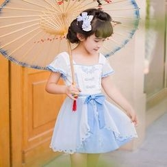 Candy Rain - Kids Flower Embroidered Ribbon Accent Short Sleeve Dress