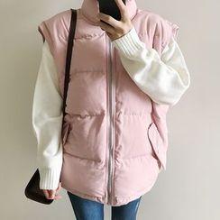 CHIH - Plain Stand Collar Padded Vest