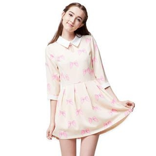 Power Sweet - Contrast-Trim Bow-Print Dress