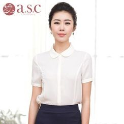 Aision - Short-Sleeve Plain Blouse
