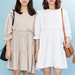 Heynew - Frill Trim 3/4-Sleeve Dress