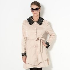 YesStyle Z - Crochet Trim Shirred Sleeve Trench Coat