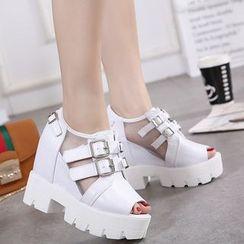 Anran - Buckled Wedge Platform Sandals