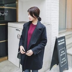 mimi&didi - Wide-Collar Double-Breasted Wool Blend Coat