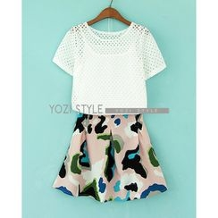 YOZI - Set: Camisole  +  Short-Sleeve Perforated T-Shirt  +   Pleated Camouflage Skirt