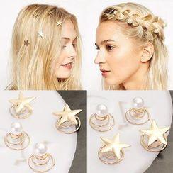 Coolgirl - Faux Pearl / Star Hair Pin