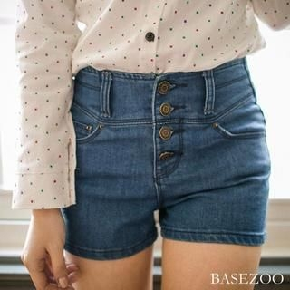 BaseZoo - High-Waist Buttoned Denim Shorts