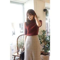 CHERRYKOKO - Short-Sleeve Wool Blend Knit Top