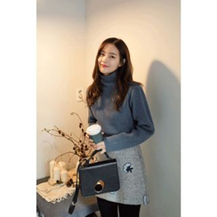 CHERRYKOKO - Mock-Neck Wool Blend Rib-Knit Sweater