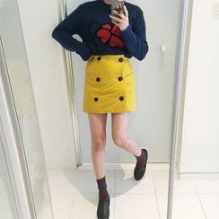 DISCOSALON - Button-Detail Padded Skirt