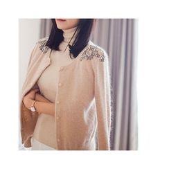 MASoeur - Rhinestone-Detail Wool Blend Cardigan