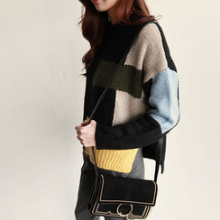 NIPONJJUYA - Color-Block Dip-Back Sweater