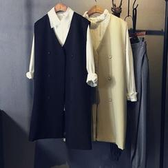 芷蓯夕 - 雙排扣無袖長款西裝外套
