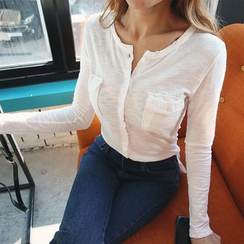 DABAGIRL - Button-Down Distressed Mélange Top