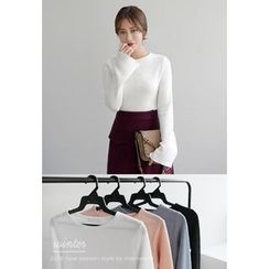 Miamasvin - Crew-Neck Bell-Sleeve Knit Top