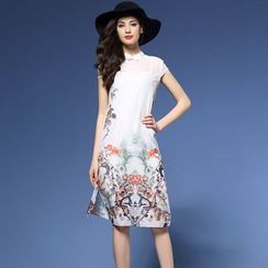 Elabo - Print Cap Sleeve Cheongsam