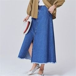 MAGJAY - Fray-Hem Slit-Front Maxi Denim Skirt