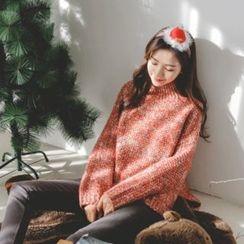 JUSTONE - Mock-Neck Wool Blend Mélange Sweater
