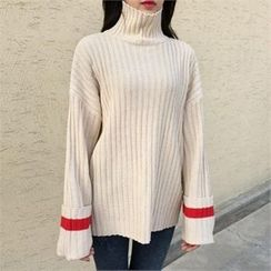 QNIGIRLS - Turtle-Neck Contrast-Trim Ribbed Sweater