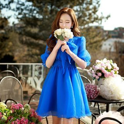 Dabuwawa - Elbow-Sleeve Chiffon Dress