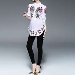 Alaroo - Elbow-Sleeve Embroidered Blouse
