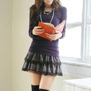 Tokyo Fashion - Lace-Trim Layered Plaid Skirt