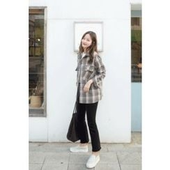 CHERRYKOKO - Flap-Pocket Fleece Lined Plaid Shirt