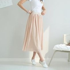 GLAM12 - Band-Waist Long Skirt