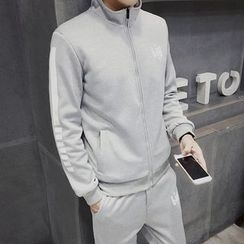Danjieshi - Set: Striped Stand Collar Zip Jacket + Sweatpants