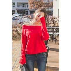 migunstyle - Off-Shoulder Knit Top