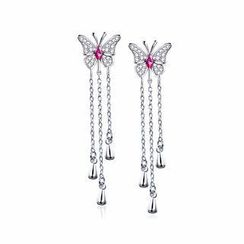 BELEC - 925 Sterling Silver Butterfly Earrings with Rose Red Swarovski Element Crystal