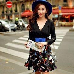 Dabuwawa - Long-Sleeve Panel Printed Dress