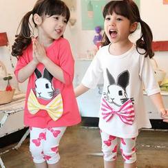 Seashells Kids - Kids Set: Rabbit Print T-Shirt + Leggings