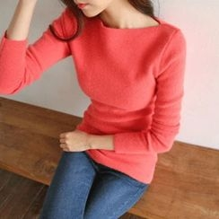 Hello sweety - Boat-Neck Wool Blend Sweater